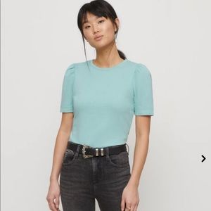 DYNAMITE - Teal Puff Sleeve Cotton T-Shirt